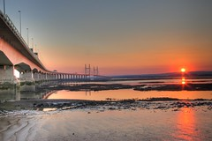 Highway to the Sun (*Firefox) Tags: bridge sunset england reflection wales bristol geotagged riversevern getty hdr severnbeach secondseverncrossing mireasrealm geo:lat=51570401 geo:lon=2664185 flickl2