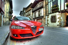 In the streets of Vera Bera (Hans van Reenen) Tags: auto espaa car spain fav20 voiture coche alfaromeo hdr navarra pkw fav10 alfaromeo147 supershot verabera