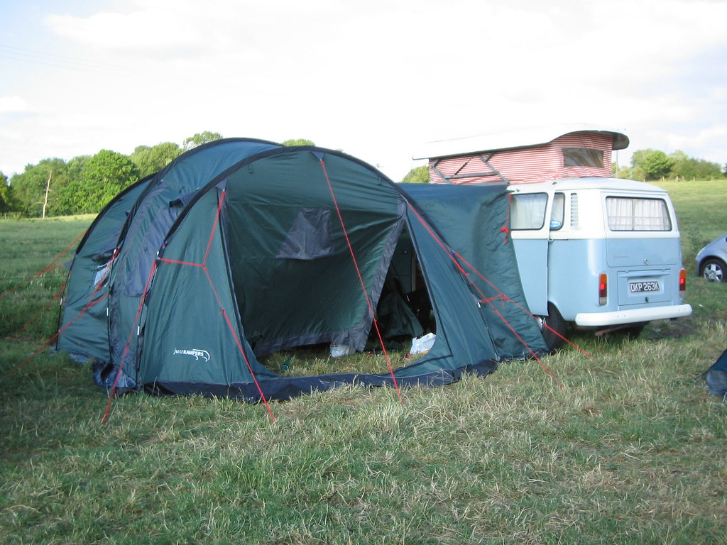 The Camper And Its Expertly Erected Awning