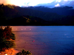Love Hawaii (Ana Bel) Tags: ocean sea usa mountain reflection beach water fog hawaii boat sand pacific kauai