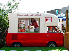 ice makes you happy (scottog) Tags: red berlin girl tag3 taggedout germany football tag2 tag1 icecream surprise vehicle snacks worldcup van