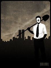 Damon Gravedigger (M Domondon) Tags: brown skyline illustration dark graphicdesign scary mask graphic tie suit gravedigger macabre shovel textured spade