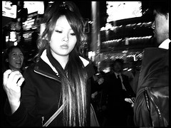 Moments-in-passing (Danz in Tokyo) Tags: leica people bw white black girl face japan night wow japanese tokyo interestingness asia candid explore 日本 nippon 東京 fz30 nozoom topv11 realpeople danz topv22 danzintokyo candidandnozoom realtokyo