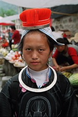 CHINA - Indigenous people (BoazImages) Tags: china red portrait woman white black beautiful face hat topv111 colorful pretty hill tribal guizhou indigenous hilltribe theface geija
