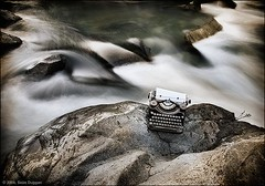 The River of Words (Sen Duggan (aka f/1.4)) Tags: typewriter writing river words rocks rapids explore boulders motionblur 5d writersblock canon5d artifacts incongruous nowandthen slowshutterspeed writingmachine neutraldensityfilter ofanunknownorigin bangedmyknee againstahugerock whiletakingthese artdemandssuffering acharmagainst