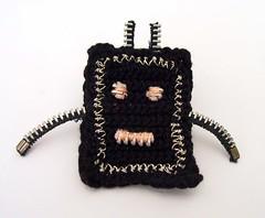 zipper crochet robot pin (netamir) Tags: robot pin crochet craft jewelry zipper