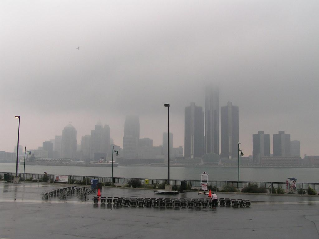 Low cloud ceiling gives Detroit skyline a eerie look (MiRea) Tags: wallpaper ontario