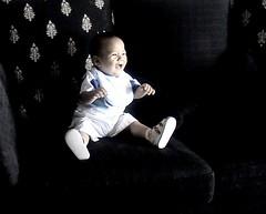 nameer (ikramulhaq_1999) Tags: blackandwhite baby black child laughter contrasts nameeraktamkhawaja