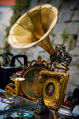 old phonograph (Sam Scholes) Tags: travel vacation portrait painting europe forsale market croatia stuff antiques split hr gilded brass knickknacks phonograph antiquemarket gildedframe splitskodalmatinskaupanija