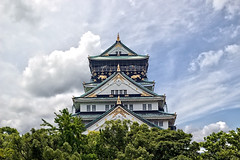 Osaka Castle in Japan (Johnnie Shene Photography(Thanks, 1Million+ Views)) Tags: trip travel sky people colour macro building castle japan horizontal architecture canon lens photography eos japanese rebel dc focus kiss asia exterior place bright image symbol outdoor no famous sigma landmark structure full destination modified osaka oriental length 1770 kansai hdr cloudscape adjustment built attraction symbolic freshness foreground selective representative  x6 fragility 284   650d t4i 1770mm f284