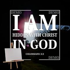 """""""Ik ben met Christus verborgen in God"""" Canvasdoek (Zalving.nl - De Zalfolie Webwinkel) Tags: poster god jesus canvas identity yeshua proclamation doek christelijk christelijke"""