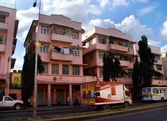 Dar Deco: 1950's Candy Pink Mansions opposite our hotel (Superlekker) Tags: africa city house building architecture tanzania downtown cityscape daressalaam 1950s artdeco deco ilala mchafukoge