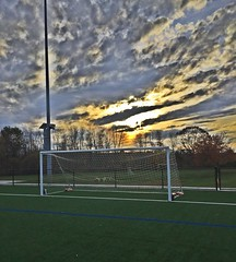 Dusk on the pitch (jrab) Tags: sunset net field clouds goal dusk soccer pitch