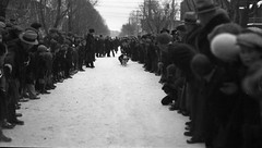 Dog Race, 1932 (TBayMuseum) Tags: winter ontario canada history dogs sports animals children outdoors transportation leisure recreation races crowds sleds thunderbay dogsleds wintersports dograces