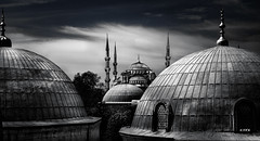 City of Mosques, Istanbul, Turkey (S.A.W. Pixels) Tags: old blackandwhite bw building history monochrome architecture clouds contrast turkey landscape mono amazing interesting exposure cityscape place pov ngc culture highcontrast istanbul dome historical bluemosque sophia byzantine cultural mosques minarets islamic hagia