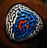 Dali's Guitar Pick (Sea Moon) Tags: blue red white black macro triangle paint patterns points magnetism ferrofluid