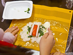 POV (DigiPub) Tags: christmas city party food kitchen tokyo rice pov culture social plastic  modernlife japanesefood  utensil  japaneseculture kamaboko crabstick        disposablecontainer      kaniboko