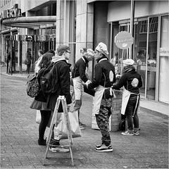 Freshmen (John Riper) Tags: johnriper street photography straatfotografie rotterdam square bw black white zwartwit mono monochrome netherlands candid john riper canon 6d 24105 l people hello fresh young food vd vroom dreesmann beursplein gallery rodezand beurstraverse koopgoot hoogstraat zwvk primark