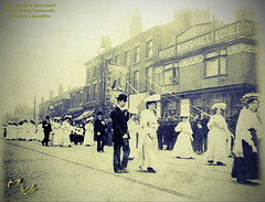 'Travellers Rest Hotel', Farnworth, c1900 (Landstrider1691) Tags: farnworth bolton whitsuntide banners church congregation walkingday whitwalks whitsuntidewalks marketstreet travellersrest oldpubs lostpubs oldphotosoffarnworth historic history pub hotel bowlerhat tramlines mageemarshall ales clock magees terrace georgian georgianbuildings victorian terraced oldphotos