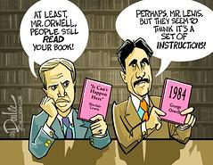 0117 author author cartoon (DSL art and photos) Tags: editorialcartoon donlee donaldtrump sinclairlewis georgeorwell ericarthurblair dystopia authoritarian politics