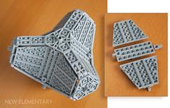 Geometric form using hexagonal LEGO Combo NEXO Power shield plates (caperberry.tj) Tags: triangle hexagon plate piece lego afol brick part new clip bar 318 technique analysis howto