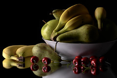 Fruits You Sir! (darrenball189) Tags: bowl food fresh fruit healthy diet juicy red ripe background isolated green colorful tropical delicious apple yellow health color banana variety object mix group pear apples cherry tasty closeup black fruits bananas fruity grannysmith fruitbowl day five reflection mirrored