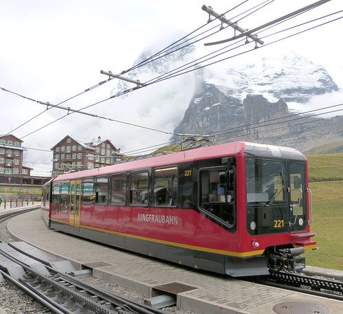 Jungfraubahn, Switzerland - Beh4/8 Unit No. 221 introduced in 2016 at  Kleine Scheidegg on the 19th September 2016