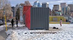 Containr Park (Sherlock77 (James)) Tags: calgary kensington snow winter streetphotography people woman shippingcontainer
