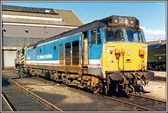 50030, Old Oak Common (Jason 87030) Tags: 50030 repulse hoover class50 nsde networksoutheast locomotive diesel britishrailways br britishrail generator engine shabby 08 47 depot loco tren englishelectric frame border tracks london 1990 old october blue