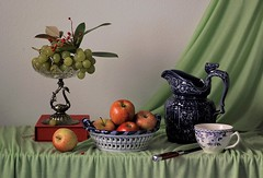 Little Things (Esther Spektor - Thanks for 12+millions views..) Tags: stilllife naturemorte bodegon naturezamorta stilleben naturamorta composition artisticphoto arrangement creativephotography tabletop food fruit apple grape berry pitcher cup bowl box stand curtain drape knife ceramics crystal metal pattern availablelight red green blue cobalt white estherspektor canon