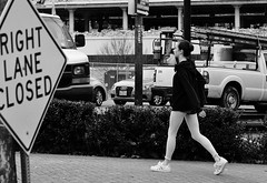 Out Of Ballet Class (burnt dirt) Tags: houston texas downtown city town street sidewalk crosswalk streetphotography fujifilm xt1 girl woman people person bw blackandwhite ballet tights yogapants adidas stansmith sneakers whitestockings bun office building