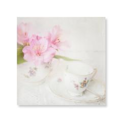 Still in bed. (BirgittaSjostedt) Tags: morning coffee cup flower cloth spoon lace soft highkey bright pastel texture paint birgittasjostedt magicunicornverybest ie