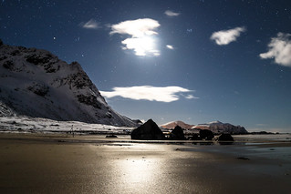 moon over skagsanden beach - flackstad norway