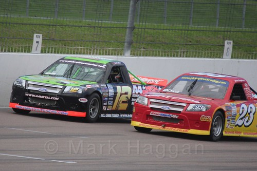 Paul Tompkins and Dave Longhurst in Pick Up Truck Racing, Rockingham, Sept 2015