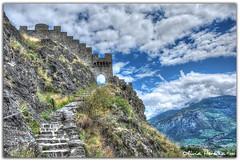Tourbillon landscape (Olivia Heredia) Tags: naturaleza nature switzerland suisse verano chteau castillo hdr highdynamicrange sion valais tonemapped tonemapping 1exp schweis oliviaheredia oliviaherediaotero chteaudetourbillon vlere vlerecastle chteaudevlere