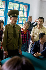 Soldier explaining the DMZ to tourists