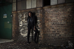 Build Up Your Wall (CJ Schmit) Tags: door woman fall abandoned grass wisconsin female canon pose concrete model chair boots bricks longhair dirt milwaukee leggings octo blackwoman industrail leathervest locationshoot canonef50mmf18ii alienbeeb800 westmilwaukee canon5dmarkiii cjschmit 5dmarkiii wwwcjschmitcom cjschmitphotography dragonspitstudios softboxpocket fotodioxprostudio60 nancynorkeh wizardswest