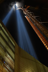 Building a Tower of Light 2 (Amaury Laporte) Tags: newyorkcity usa newyork unitedstates 911 landmarks northamerica tributeinlight memorials september11memorial