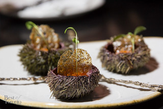 Sea urchin with persimmon puree and a sturgeon tendon chip