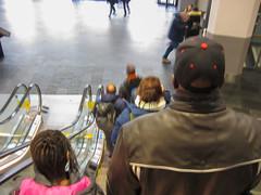 Down the escalator (mittalbum) Tags: autumn people man girl oslo traffic escalator passengers trainstation oslos canonpowershots90