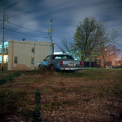 (patrickjoust) Tags: middleeast baltimore maryland mamiyac330f sekor65mmf35 kodakektar100 tlr twin lens reflex 6x6 120 c41 color negative film cable release tripod long exposure night after dark manual focus analog mechanical patrick joust patrickjoust middle east md usa us united states north america estados unidos autaut car auto automobile vehicle parked