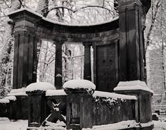 Remnants of the past (suxarik) Tags: mamiya 645 6x45 120 film 645afd af sekor mamiyasekor ilford ilfordhp5 hp5 diy selfdeveloped bw blackandwhite rodinal monochrome scanned imacon imaconflextightphoto mf medium mediumformat analog filmisnotdead architecture monument sculpture cemetery graveyard old decay winter snow