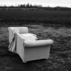 The World is Your Living Room (lancekingphoto) Tags: abandoned couch field country lexington kentucky bronicasq 120film mediumformat ilfordfp4plus bwfp blackandwhite xtol