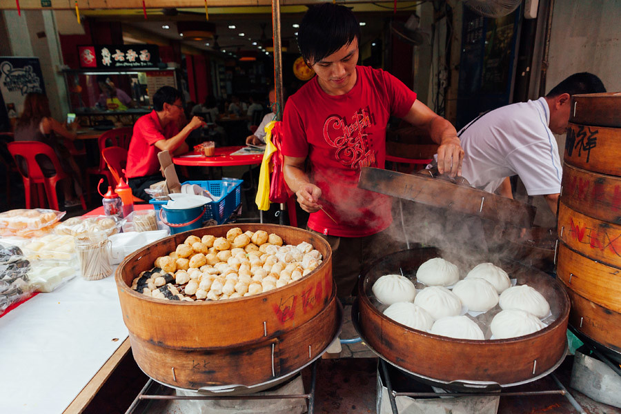 Traditional steamed buns at the street food stall in Chinatown