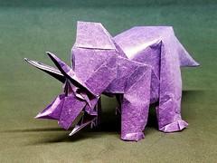 Triceratops (1999), designed by Fumiaki Kawahata (M@ttyGroves) Tags: origami dinosaur triceratops fumiaki kawahata paper purple
