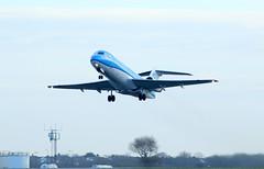 PH-KZS take off. (aitch tee) Tags: cardiffairport aircraft airliner klm cityhopper fokker70 takeoff ttail jet jetliner phkzs cwlegff maesawyrcaerdydd walesuk