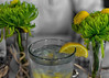 Lemon and Mums (Maggggie) Tags: 365 lemon flowers yellow selectivecolor green glass leaves table restaurant 117in2017