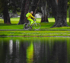 Be Green and Be Seen (Steve Taylor (Photography)) Tags: fluorescent green biker cyclist backpack lake man newzealand nz southisland canterbury christchurch hagleypark park bike bicycle cycle reflection