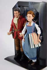 Film Collection Belle and Gaston Doll Set - Live Action Beauty and the Beast - Disney Store Purchase - Deboxing - On Backing - Full Right Front View (drj1828) Tags: us disneystore beautyandthebeast liveactionfilm 2017 belle gaston disneyfilmcollection 12inch posable dollset blue peasant dress deboxing