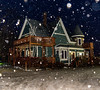 Walking In A Light Snow (James P. Mann) Tags: night time flash house snowing snow winter light